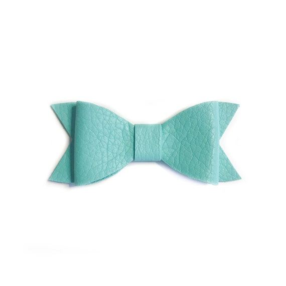 Real leather hair bow, handmade hair bow in mint by Four jays bows
