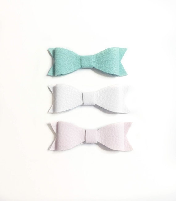 Mini Leather Hair Bows: Light pink, white and mint