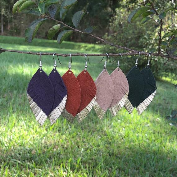 Women's Feather Earrings, Leather earrings teardrop, Suede leather, Large leather earrings, jewelry leather, purple amber sand forest green