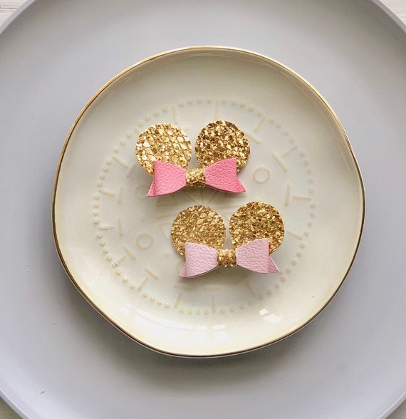 Minnie Mouse Inspired small leather hair bows in bubblegum pink or baby pink