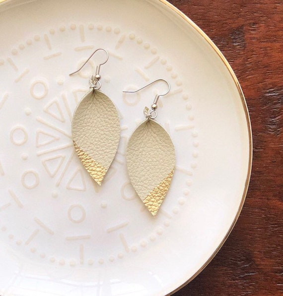 Ivory Leather Earrings with painted gold edge
