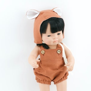 Miniland doll rust linen romper rust doll bonnet
