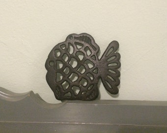 30% SALE *** Fish Cast Iron Trivet, Made in Taiwan