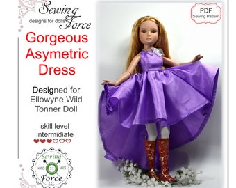 Designed for Ellowyne Wilde Tonner doll clothes dress pattern, PDF Sewing Pattern, Asymmetric Dress - instant download, 16 inch fashion doll
