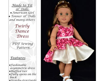 18 inch doll clothes dress pattern, American girl doll dress clothes pattern, PDF Sewing Pattern, Twirly Dance Dress - instant download