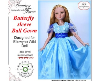 Designed for Ellowyne Wilde Tonner doll clothes dress pattern, PDF Sewing Pattern, Butterfly Sleeve Ball Gown, 16 inch fashion doll