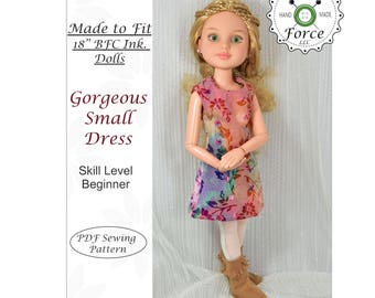Designed for 18 inch BFC Ink doll clothes dress pattern, PDF Sewing Pattern, Gorgeous Small Dress  - Christmas gift, Holiday gift