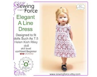 "Fits Ginny Kish Riley dolls Doll Dress /& Pantie Pattern 7-1//2/"" 8/"" 1229"