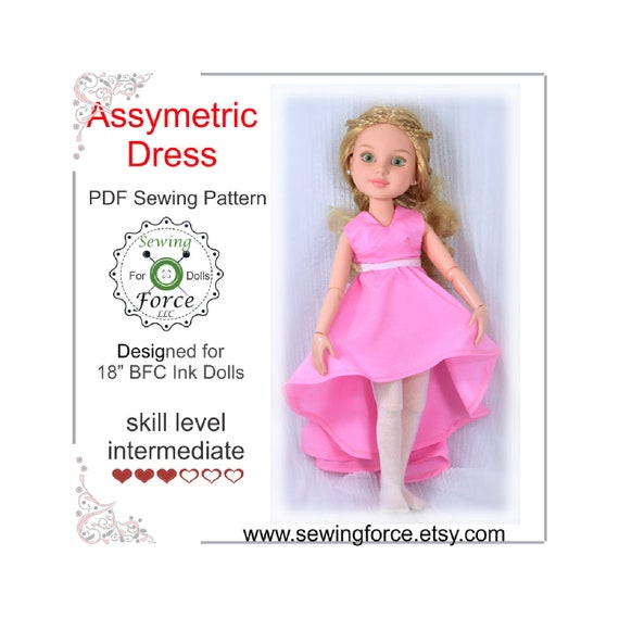 Designed for 18 inch BFC Ink doll clothes dress pattern Gorgeous Asymmetric Dress Holiday gift Christmas gift PDF Sewing Pattern