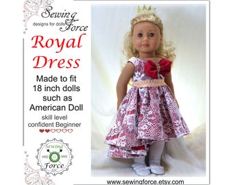 18 inch doll clothes pattern such as American girl doll, clothes pattern, PDF Sewing Pattern, Royal Dress - instant download