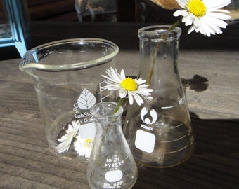 3 Small pieces Lab Glass beakers 10, 50, 100 ml flasks