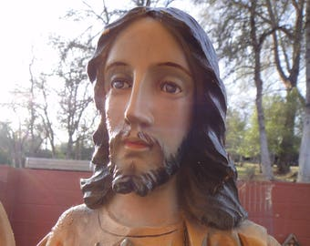 """Antique Carved Wood Bust of Jesus 17.5"""" Beatific Calm Face"""