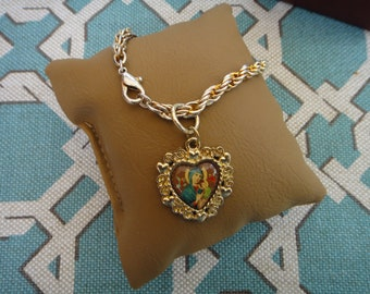 Vintage Madonna and Child Heart Charm on 3-tone gold bracelet