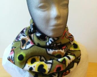 Cowl, hood, infinity scarf in fleece, Día de Muertos sugar skull motif with button