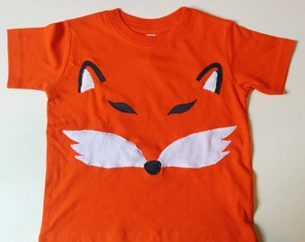 Fox tee shirt for kids, nocturnal creature in negative space