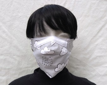 Great fit! Cotton face mask with filter pocket, removeable nose wire and elastic or ties. Kid and adult sizes.
