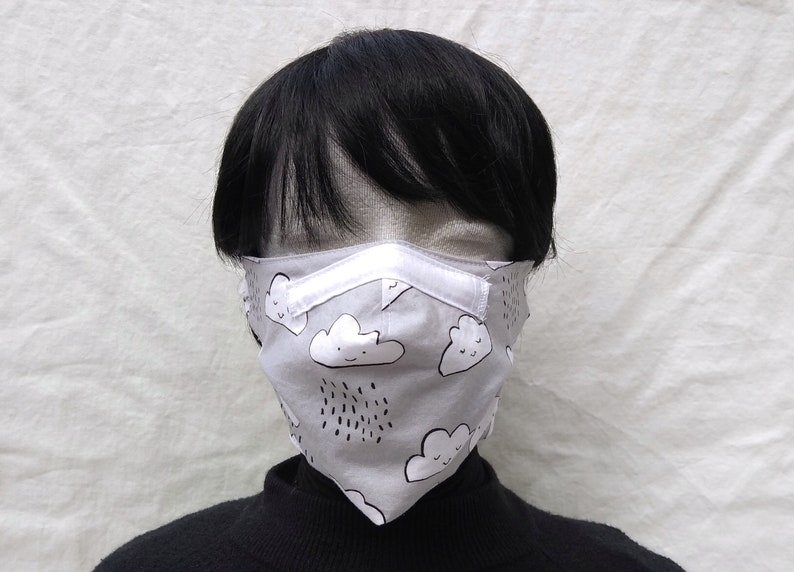 Great fit Cotton face mask with filter pocket removeable image 0