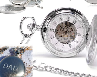 a81df5145 Engraved Double Cover Hand-Wind Up Mechanical Pocket Watch , Groomsmen Gift  , Steampunk pocket watch, personalized pocket watch