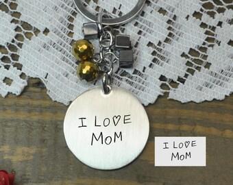 Handwriting Stainless steel key chain , Bridesmaid Gift , Custom Wedding Gift, Name Initials key chain, Handmade monogram key chain