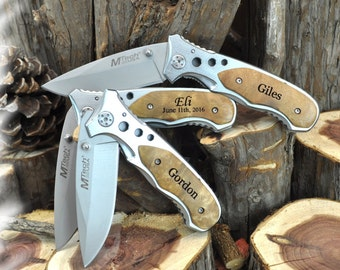 Engraved Personalized Knife ( SET OF 2 ) ,Rescue Knife , Tactical  Knife , Monogram Engraving ,Groomsman Gift ,Camping Knife - Hunting Knife