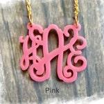Monogram Necklace - Vine Monogram 3 Initial Name Acrylic Monogram Jewelry - Pink Necklace