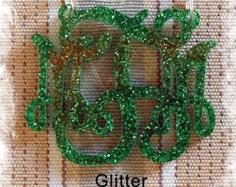 Monogram Necklace - Vine Monogram 3 Initial Name Acrylic Monogram Jewelry - Glitter Necklace , wedding gift