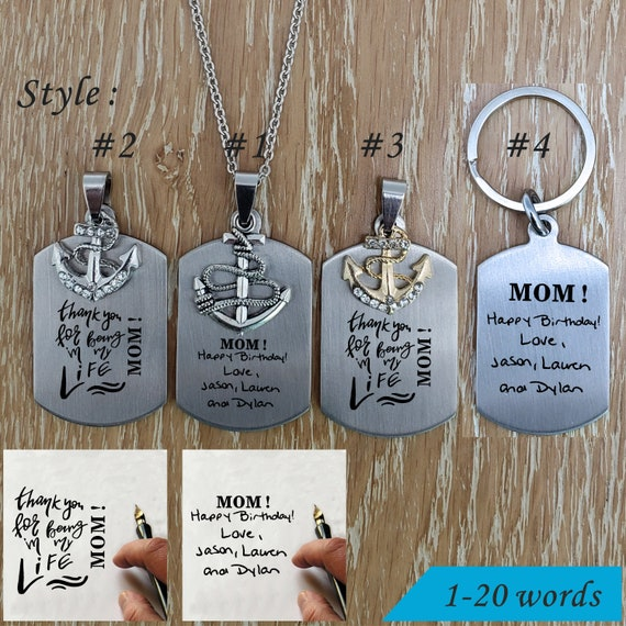 Handmade key chain Custom Wedding Gift Name Initials key chain Bridesmaid Gift Hand Writing personalized  Stainless steel necklace