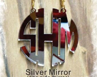 Monogram Necklace - Circle Monogram 3 Initial Name Acrylic Monogram Jewelry , Bridesmaids Gift