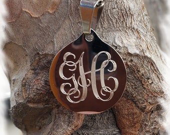 Stainless Vine Monogram Necklace - Vine Monogram 3 Initial Name ,monogram Jewelry - wedding gift