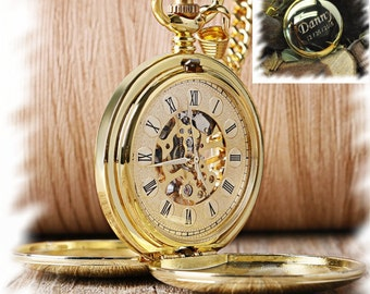 Engraved Double Cover Hand-Wind Up Mechanical Pocket Watch ,  Steampunk pocket watch, personalized pocket watch, Gift for Groom