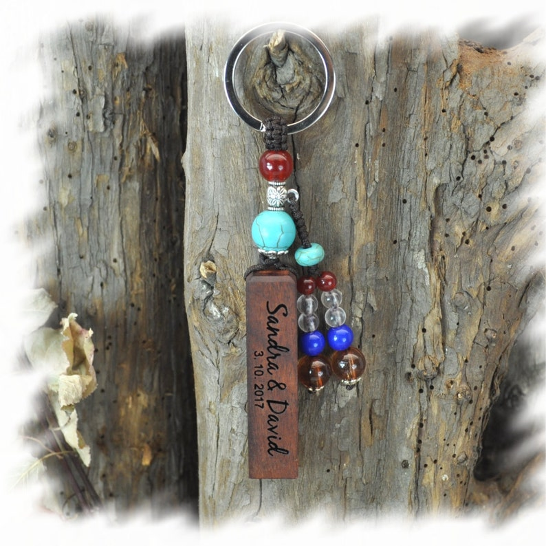 wood key chain custom keychain Memorial Team Friends image 0