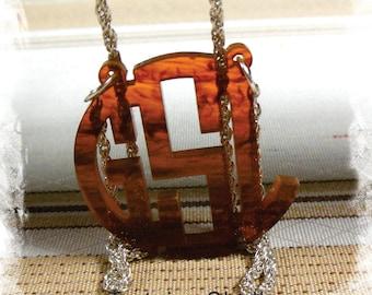Monogram Necklace - Custom Handmade Circle Monogram 3 Initial Name Acrylic Monogram Jewelry - Tortoise Shell Necklace