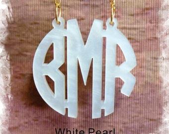 Acrylic Monogram Necklace - Circle Monogram 3 Initial Name Acrylic Monogram Jewelry , Wedding Gift