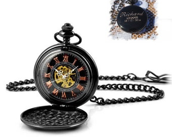 Personalized Groomsmen Pocket Watch, Gunmetal Monogrammed Pocket Watch, Gifts for Men, Groomsmen Gift, Best Man, Father of the bride