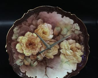 Vintage Rose Clock-9 Inches !
