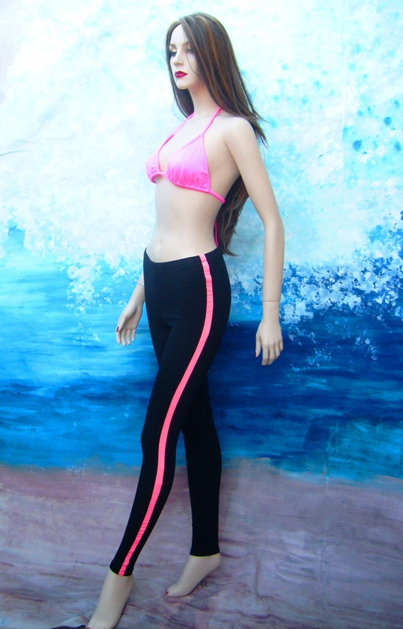 9219938d33a5b Black leggings with pink stripe white leggings capris | Etsy