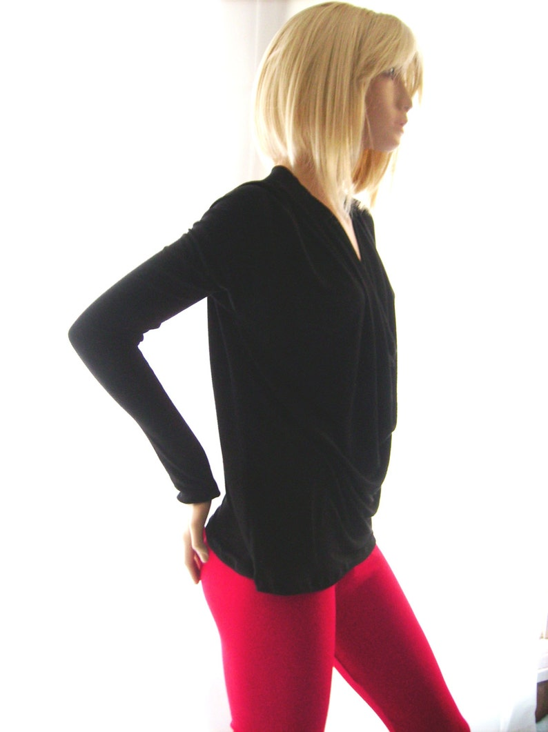 Black deep cowl neck top women black winter top. long sleeve top for her Christmas gift fashion