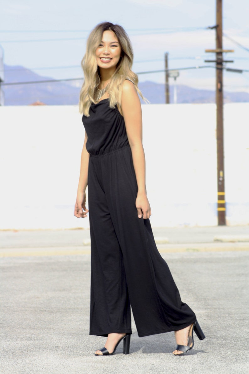 98dd3d506c Black Jumpsuit pants for her summer beach women soft