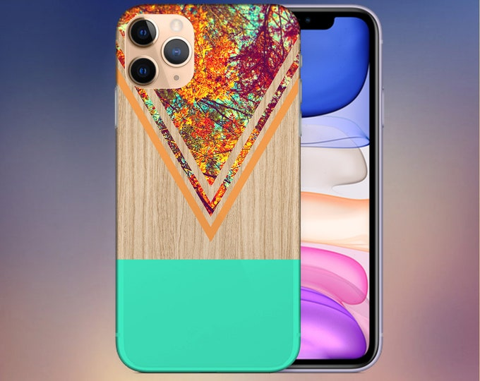 Featured listing image: Chevron Fall Leaves Wood Case - iPhone 11 Phone Case - iPhone 8 Plus - Google Pixel 4 Phone Case - Galaxy s10 Case - Note 10 - CASE ESCAPE