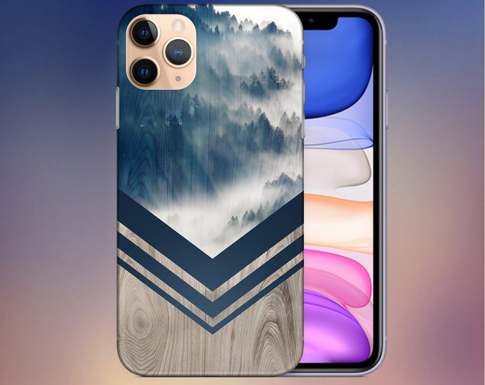 Featured listing image: Mountain Fog Navy x Chevron Wood Case - iPhone 11 Phone Case - Google Pixel 4 Phone Case - Tough iPhone Case - Note 10 Case - CASE ESCAPE