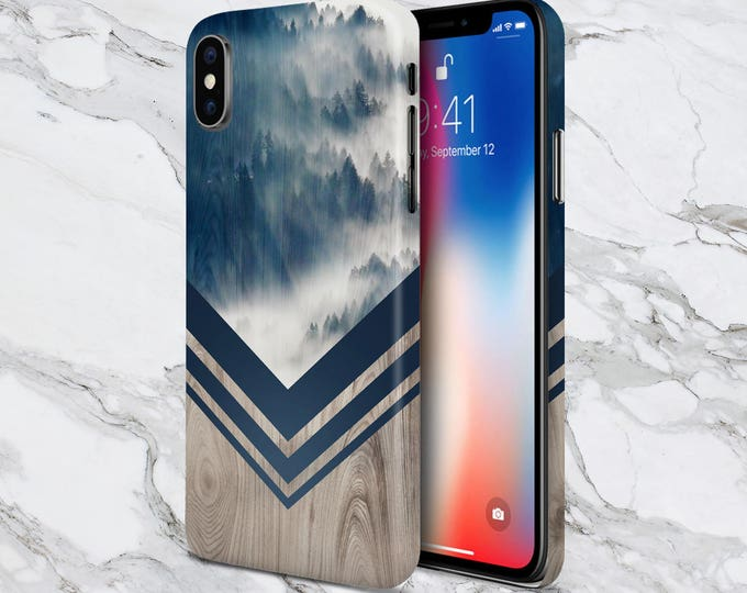 Featured listing image: Galaxy s9 Case - Phone Case - iPhone Xs Case - iPhone 8 case - Tough iPhone Case - iPhone 8 Case - Mountain Fog Navy x Chevron Wood Case