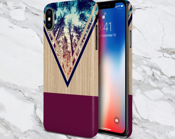 Featured listing image: Galaxy s9 Phone Case - iPhone X case - Google Pixel 3 - Tough iPhone Case - Samsung Galaxy Case - Violet Forest - Navy Chevron Wood - Nature