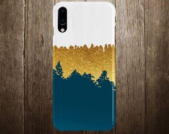 Geometric Gold Glitter Navy Blue Wood Phone Case, iPhone 11, iPhone 11 Plus, Tough iPhone Case, iPhone 13, Samsung Galaxy Case, CASE ESCAPE