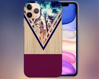 Violet Forest Phone Case - iPhone 11 case - Google Pixel 4 Phone Case - Tough iPhone Case - Samsung iPhone 13 Case - Chevron Wood - Nature