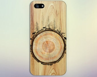 Stained Wood Animals Tree Trunk Phone Case Nature iPhone 11 iPhone 11  Samsung iPhone 13,   iPhone 13 Pro Max