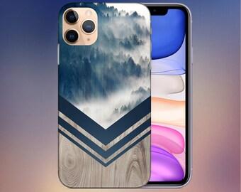 Mountain Fog Navy x Chevron Wood Case - iPhone 11 Phone Case - Google Pixel 4 Phone Case - Tough iPhone Case - Note 10 Case - CASE ESCAPE