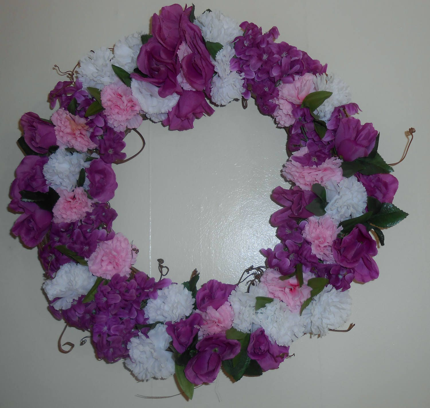 16 Inch Purple And White Spring Wreaths | Front Door Wreath | Outdoor Wreath  | Summer Wreath | Indoor Wreath