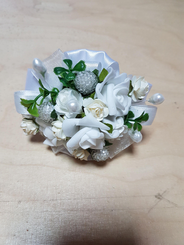 Large Wrist Corsage White Flower Corsage White Wedding Etsy