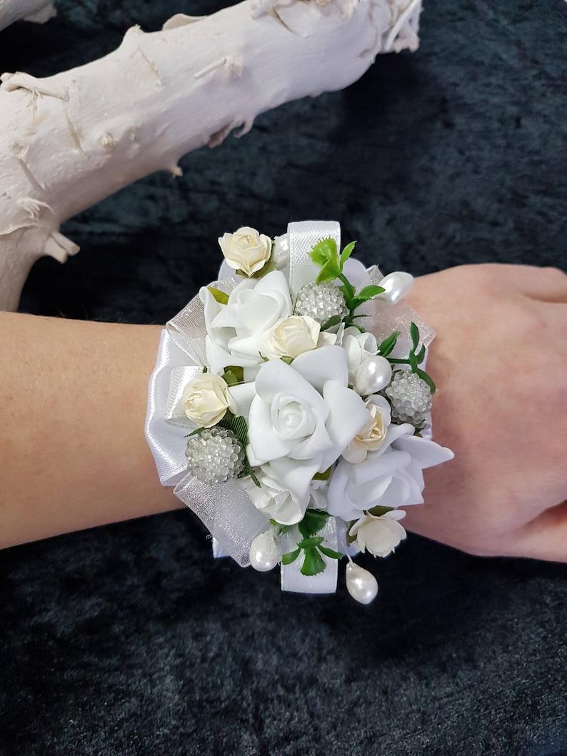 Large Wrist Corsage Flower Corsage White Flower Corsage White Wedding Corsage Flower Corsage Bracelet Corsage Wristlet Corsage