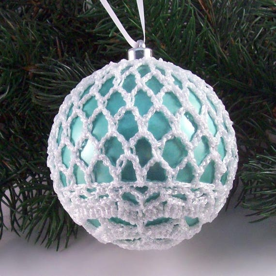 duck egg white baubles 3 baubles 80mm baubles set of 6 christmas baubles tree decorations hanging decorations crochet baubles - Duck Egg Blue Christmas Decorations